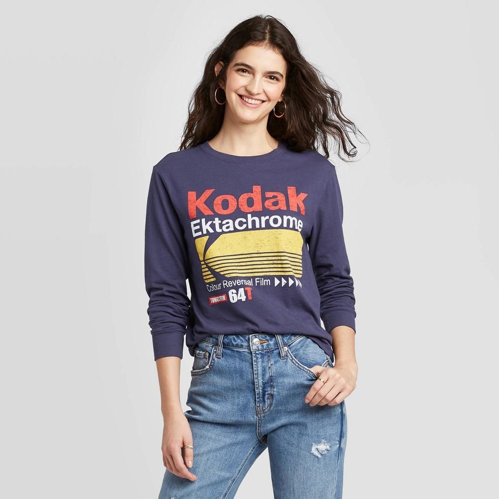 Image of Women's Kodak Long Sleeve T-Shirt (Juniors') - Blue L, Women's, Size: Large
