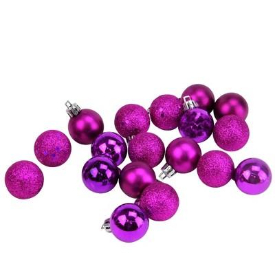 "Northlight 18ct Shatterproof 4-Finish Christmas Ball Ornament Set 1.25"" - Purple"