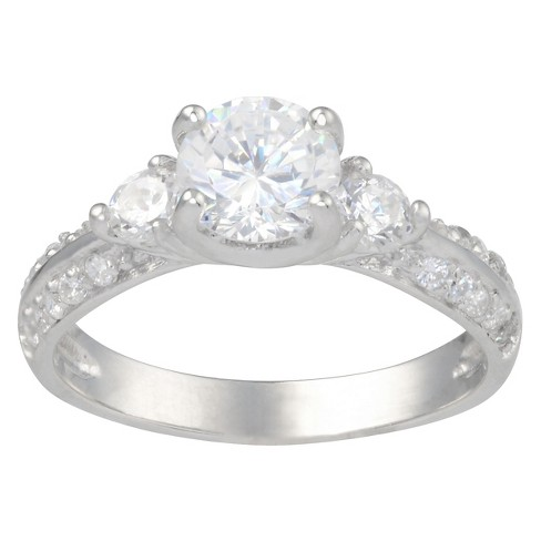 3 1/10 CT. T.W. Round-Cut Cubic Zirconia Basket Set Engagement Ring in Sterling Silver - Silver - image 1 of 2