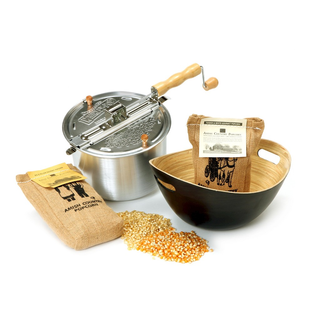 Whirley-Pop Original Stovetop Popcorn Popper with Handcrafted Bamboo Bowl and Amish County Burlap Bag Popcorn – Silver/Charcoal/Yellow/White 49140070