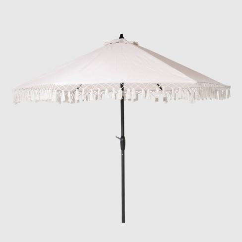 9' Round Fringed Patio Umbrella Linen - Black Pole - Opalhouse™