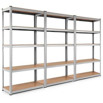 Costway 3PCS 72''Heavy Duty Steel 5 Level Garage Shelf Storage Adjustable Shelves Silver\Blue