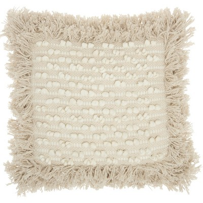 """Mina Victory Life Styles Loop Stripe Center Natural Throw Pillow - Off-White 18""""X18"""""""