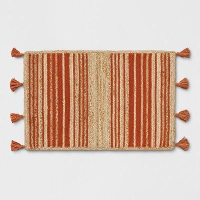 Orange Striped Braided Jute Tasseled Accent Rug 2'X3' - Opalhouse™