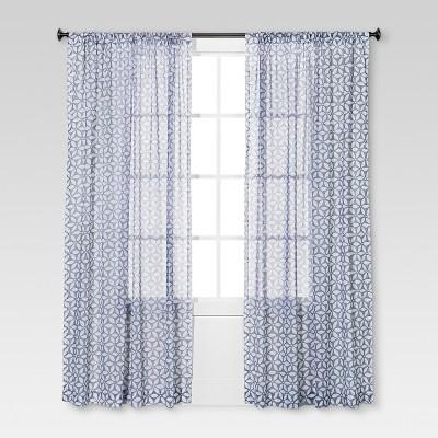 Sand Dollar Printed Sheer Curtain Panel Gray - Threshold™