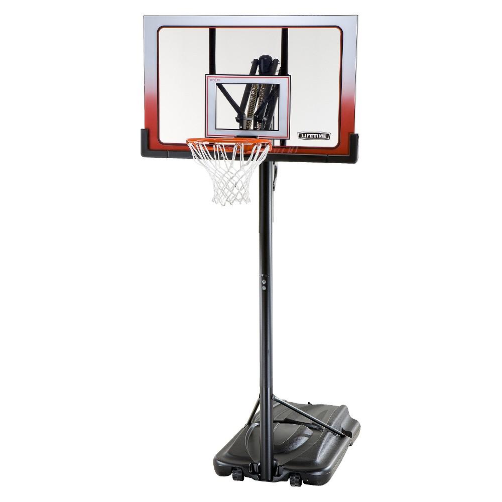 Lifetime Action Grip 52 Portable Basketball Hoop, Black/Hyper Orange I