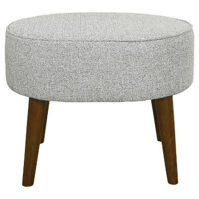 Mid Century Oval Ottoman with Wood Legs Ash Gray - HomePop