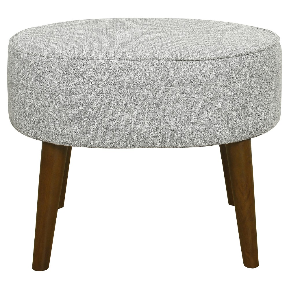 Mid Century Oval Ottoman with Wood Legs - Ash Gray - Homepop was $99.99 now $79.99 (20.0% off)