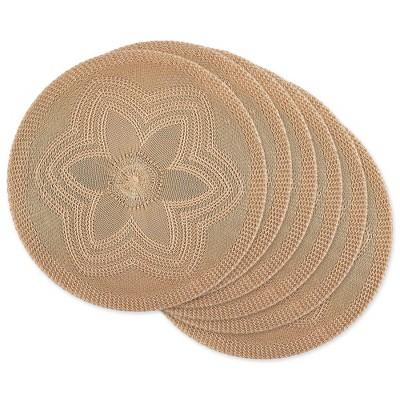 6pk Plastic Woven Floral Placemats Beige - Design Imports