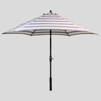 9' Round Cabana Stripe Patio Umbrella Black - Black Pole - Threshold™