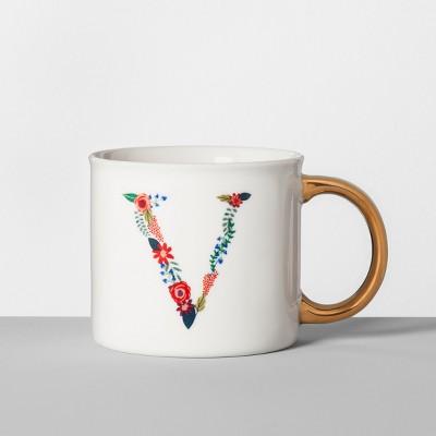 Monogrammed Porcelain Floral Mug V 16oz White/Gold - Opalhouse™