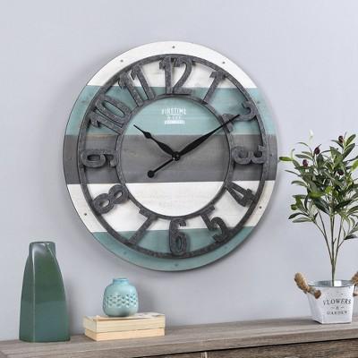 Shabby Farmhouse Planks Clock Teal - FirsTime
