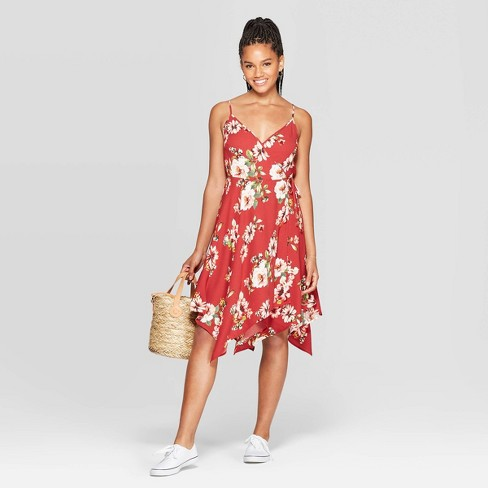 Women's Floral Print Sleeveless Deep V-Neck Handkerchief Hem Wrap Mini Dress - Xhilaration™ Burgundy - image 1 of 2