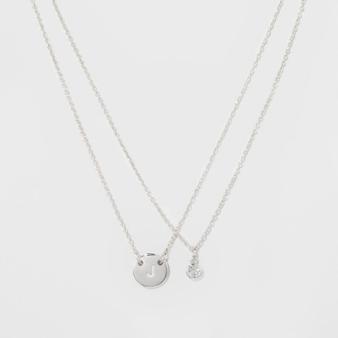 Womens silver plated letter j initial clear crystal necklace womens silver plated letter j initial clear crystal necklace silver 18 aloadofball Image collections