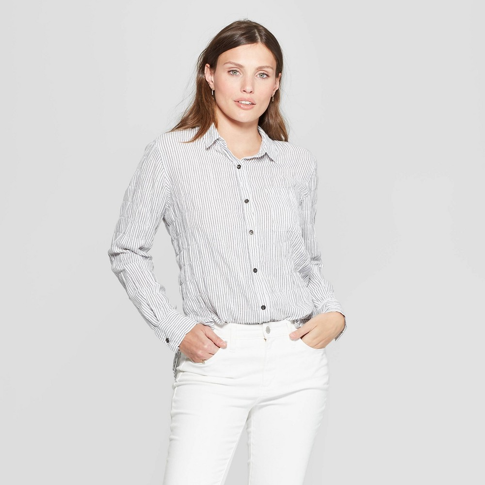 Women's Striped Long Sleeve Collared Button-Front Shirt - Universal Thread Black S