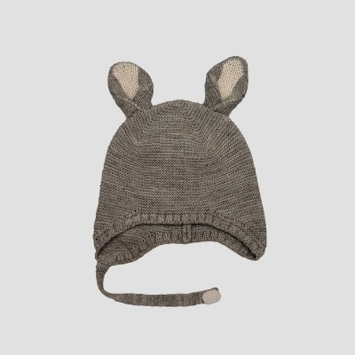 Baby Girls' Bunny Beanie with Chin Strap - Cat & Jack™ Gray 0-6M