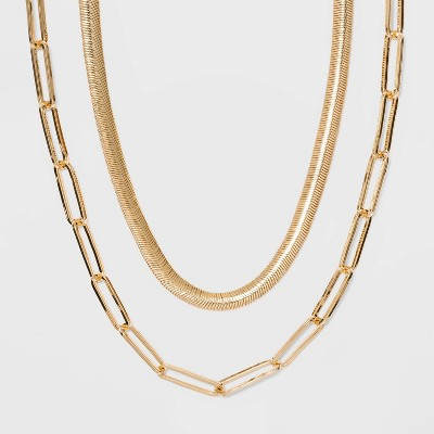 SUGARFIX by BaubleBar Modern Statement Necklace Set - Gold