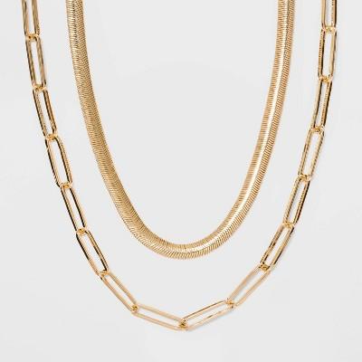 SUGARFIX by BaubleBar Modern Statement Necklace Set - Gold
