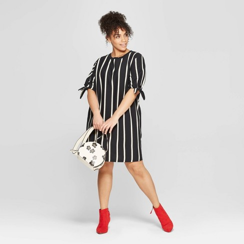 b4fe8f96ec5 Women s Plus Size Striped Short Knotted Sleeve Crewneck T-Shirt Dress - Who  What Wear™. Shop all Who What Wear