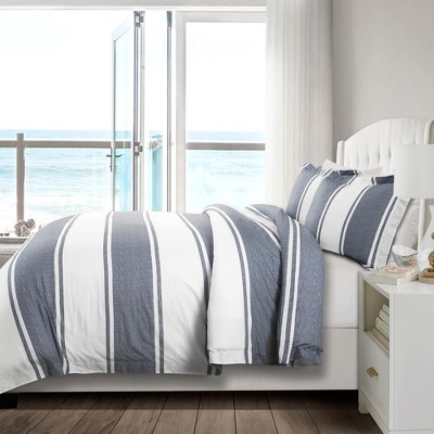 3pc Full/Queen Rawson Stripe Duvet Cover Set Blue - Lush Décor