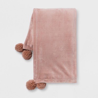 Pom Plush Throw Blanket Pink - Room Essentials™