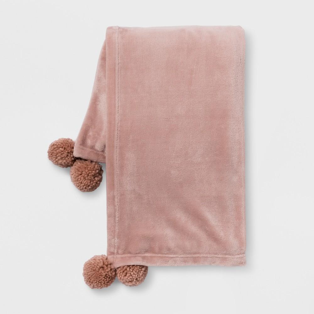 Pom Plush Throw Blanket Pink - Room Essentials