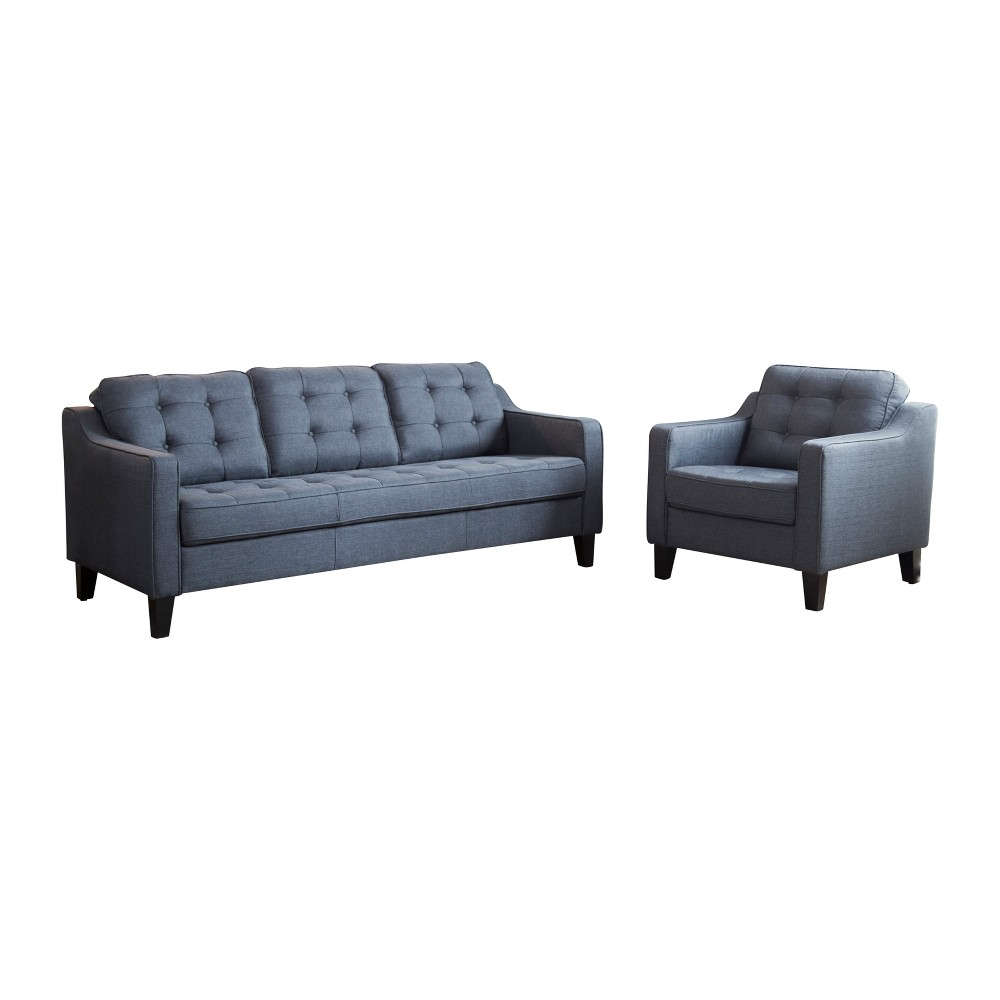 Image of 2pc Natalie Tufted Fabric Sofa and Armchair Navy (Blue) - Abbyson Living