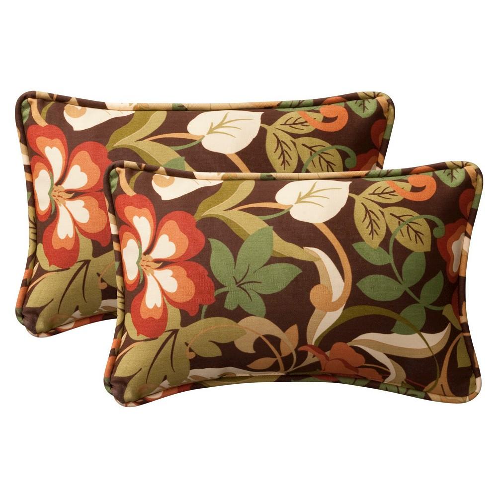 2 Piece Outdoortoss Pillow Set Brown Green Floral 18