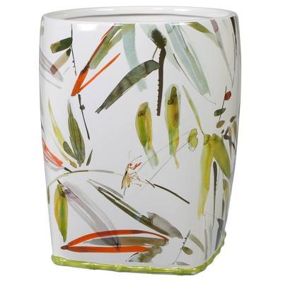 Fiji Wastebasket White/Green - Creative Bath