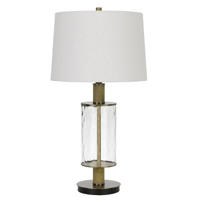 """31"""" Morrilton Glass and Metal Table Lamp with Wood Poles Hardback Fabric Drum Shade Antique Brass - Cal Lighting"""