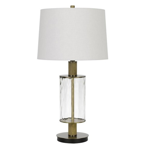 "31"" Morrilton Glass and Metal Table Lamp with Wood Poles Hardback Fabric Drum Shade Antique Brass - Cal Lighting - image 1 of 3"
