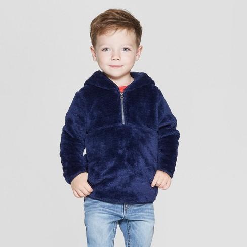 Toddler Boys' Teddy Bear Fleece Hoodie - Cat & Jack™ Navy - image 1 of 3