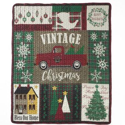 """Lakeside Vintage Christmas Throw – 50"""" x 60"""" – Farmhouse Style"""