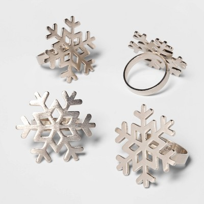 4pk Snowflake Napkin Rings Silver   Threshold™ by Shop This Collection