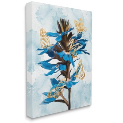 Stupell Industries Blue Tropical Floral Blooming Gold Butterfly Outlines