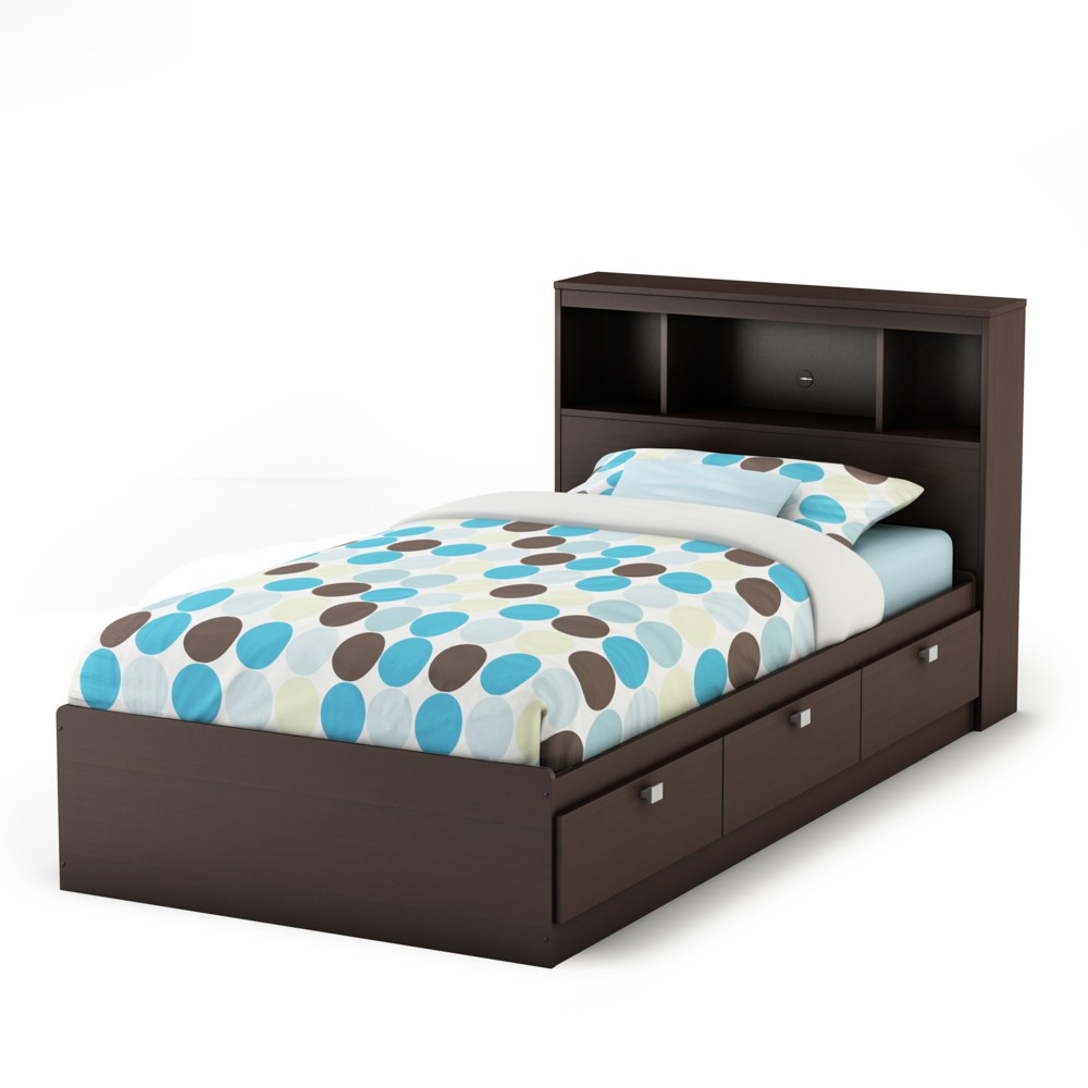 Spark Storage Bed And Bookcase Headboard Twin Chocolate - South Shore