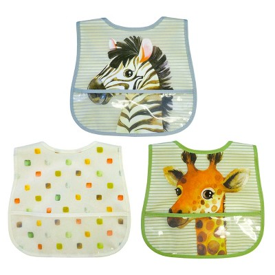 Neat Solutions Terry Toddler Bib Set Peva/Knit - Safari - 3pk