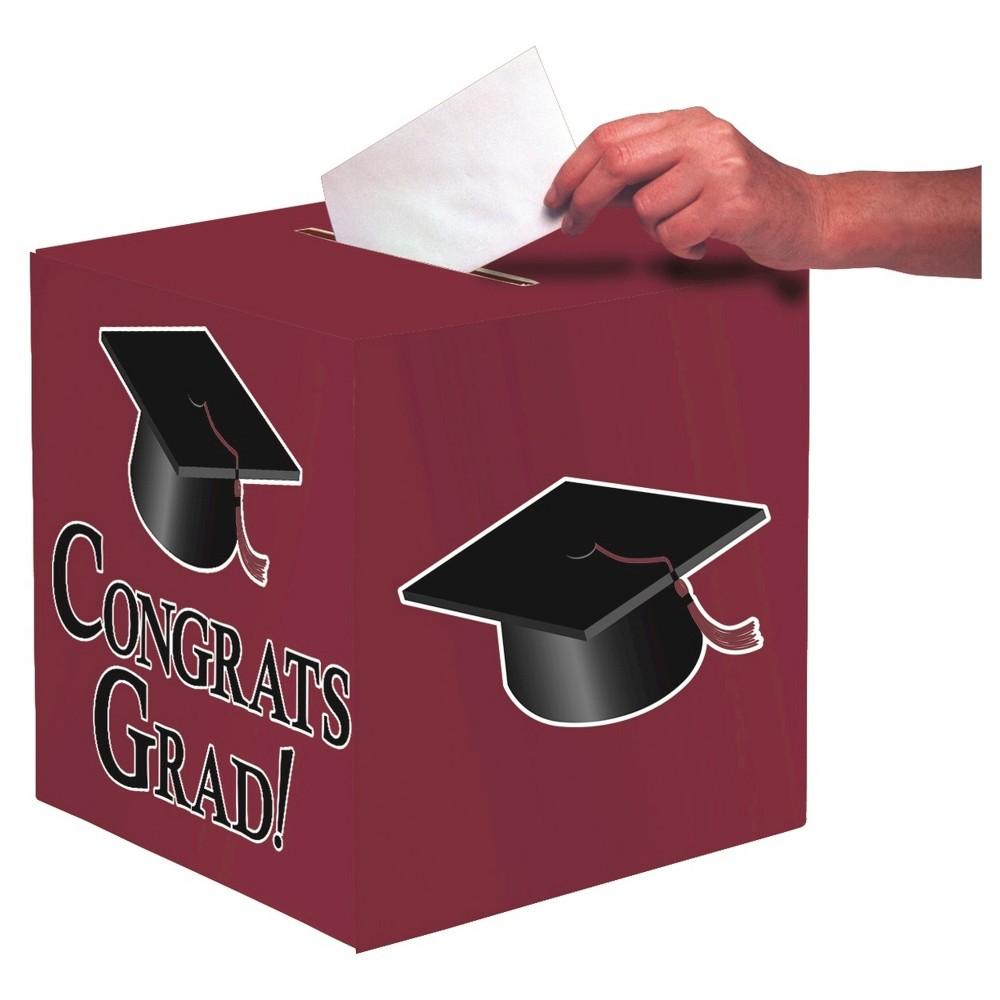 Burgundy Congrats Grad! Party Card Box, Red