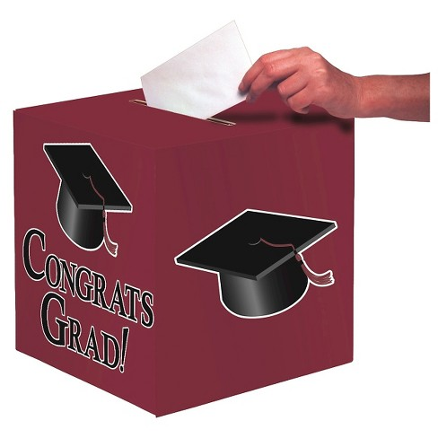 Burgundy Congrats Grad! Party Card Box - image 1 of 1
