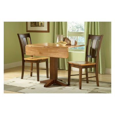 """Set of 3 36"""" Square Dual  Dining Table with 2 San Remo Chairs Cinnamon/Brown - International Concepts"""