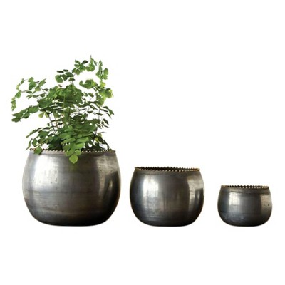 Round Metal Planters (6.75 )- Set of 3 - 3R Studios