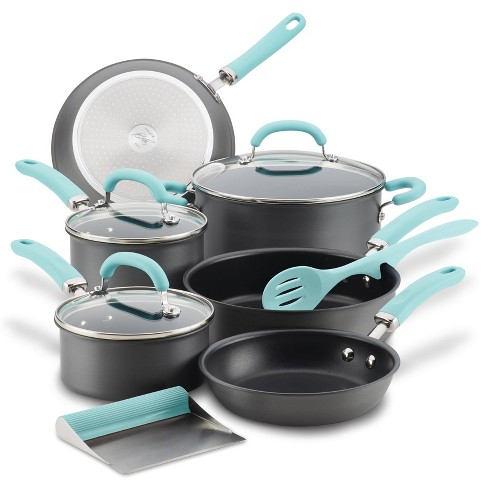 Rachael Ray Create Delicious 11pc Hard Anodized Nonstick Cookware Set Light Blue Handles - image 1 of 4