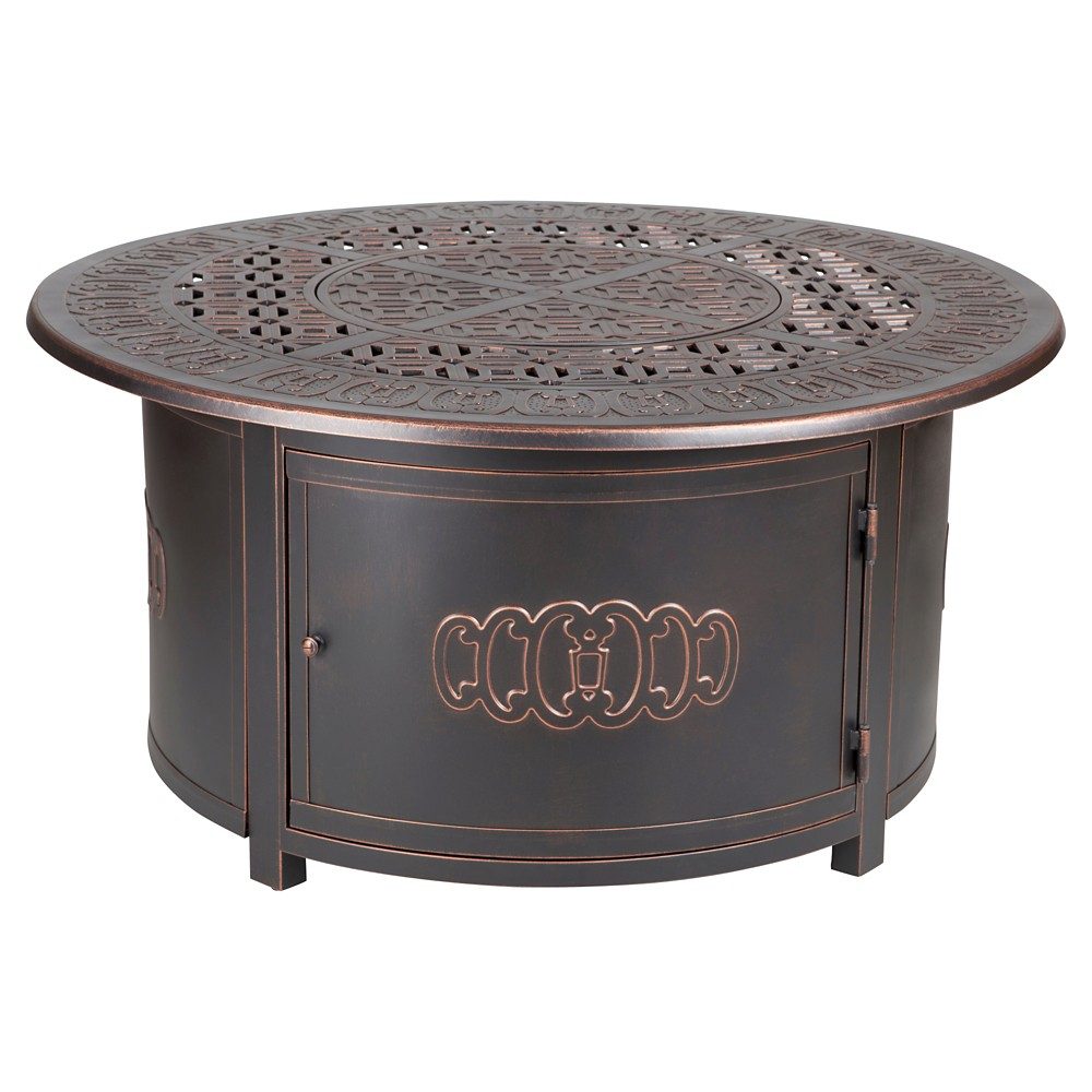 Image of Fire Sense Dynasty Round Cast Aluminum Lpg Fire Pit - Antique Bronze, Brown