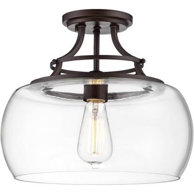 "Franklin Iron Works Farmhouse Semi Flush Mount Ceiling Light Fixture LED Edison 13 1/2"" Wide Clear Glass Living Room Schoolhouse"