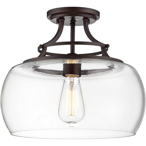 "Franklin Iron Works Farmhouse Semi Flush Mount Ceiling Light Fixture LED Edison 13 1/2"" Wide Clear Glass Living Room Schoolhouse - image 1 of 4"