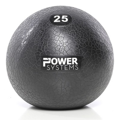 Power Systems MEGA Slam Textured Rubber 10 Inch Round Exercise Ball Prime Fitness Training Weight, 25 Pounds, Gray