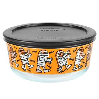 Pyrex 32oz Glass Mummy Parade Halloween Food Storage Container Black