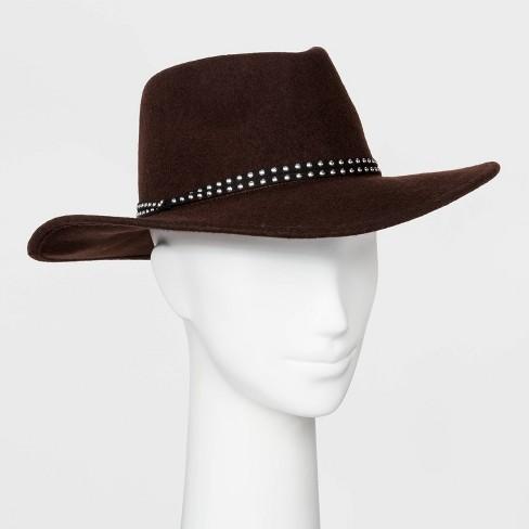 Women's Felt Wide Brim Fedora Boater Hat - Universal Thread™ Brown - image 1 of 1