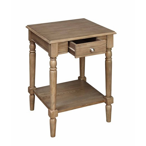 French Country End Table with Drawer and Shelf Driftwood Brown - Johar Furniture - image 1 of 9