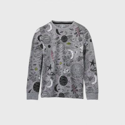 Boys' Long Sleeve Printed T-Shirt - Cat & Jack™ Gray S